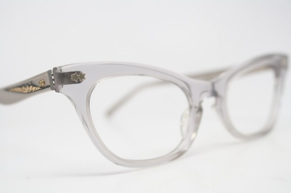Vintage Cat Eye Glasses Silver Gray Vintage Eyeglass Frames
