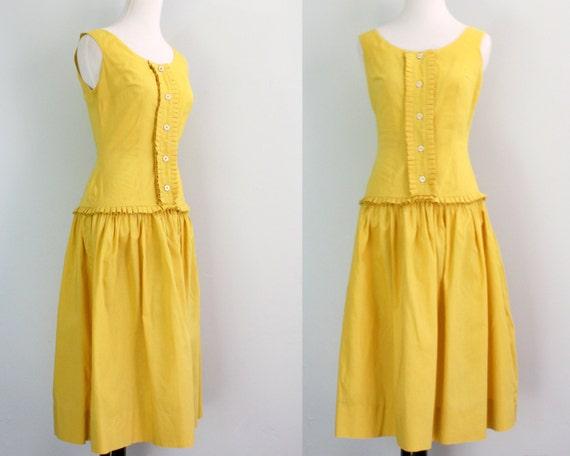 RESERVED /////  1950s dress / 50s yellow dress / summer dress xs
