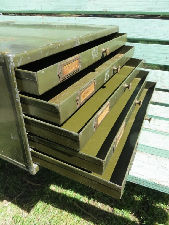 Steel Army Green 5 Drawer Flat File Machinist Tool