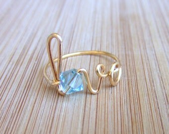 Wire Wrap Love Ring Any Size or Crystal Personalized Gifts Bridesmaid Bride Wedding Bridal Gift Birthstone Jewelry Gifts Under 15