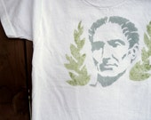 Julius Caesar Bust (Stone Gray with Earthy Green Roman Ivy on White Tee) - Boys Tee size 4T-5T