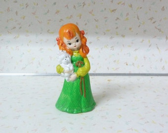 Super Cute Kitschy Little Girl and Her Dog Figurine