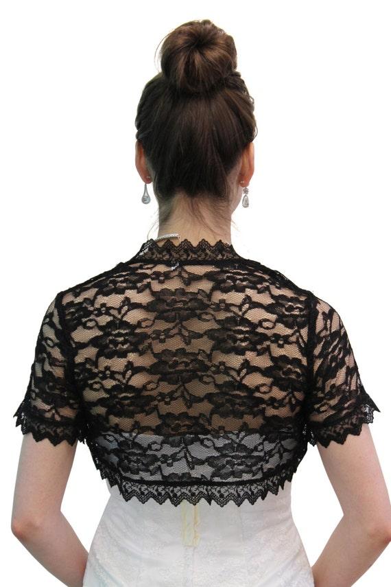 Bridal shrug black lace jacket wedding lace jacket by for Black lace jacket for wedding dress