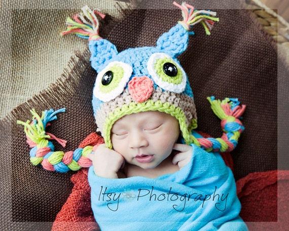 Owl hat, newborn photo prop, newborn owl hat, toddler owl hat, crochet owl hat, winter hat, owl hats for baby, blue owl hat, open eye owl