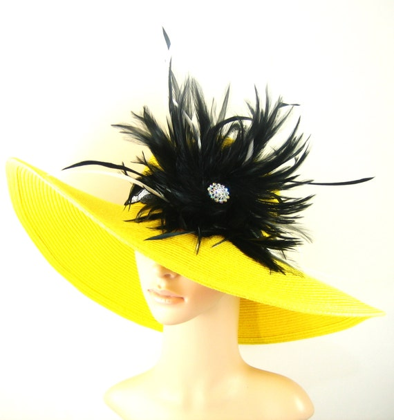Derby Hat Wedding Hat Dress Hat Yellow Derby Hat with black Feathers
