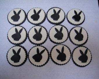 Play Boy Bunny Fondant Cupcake Toppers