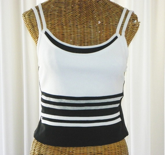 Tankini Designer Rod Beattie Swimsuit Black White 2 Piece See Through Mesh Size 8 U.S.A. Made on Etsy
