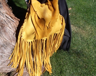Hand Laced Fringe Deerskin Raunch Drawstring Bag