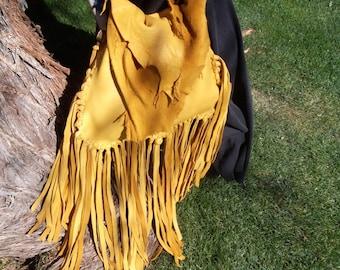 Hand Laced Fringe Deerskin Raunch Drawstring Bag