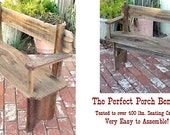 PARK BENCH-DeLUXE - Country Primitive - FREE SHiP - w/Side Arms ~ Great Price! ~ Seating for Two or Plants & Nic-Nacs - Mud Room or Porch!