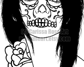 Digital Download Print Your Own Coloring Book Outline Page - Dia De Los Muertos Woman by Carissa Rose