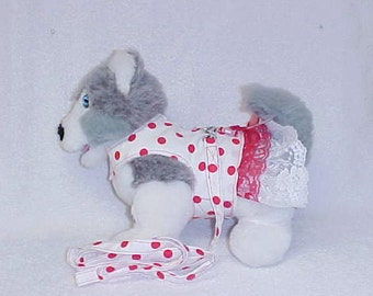 Female Dog Harness Vest Dress Girl Doggie Skirt And Matching Leash  Custom Sizes From XSmall - Medium Red Dots