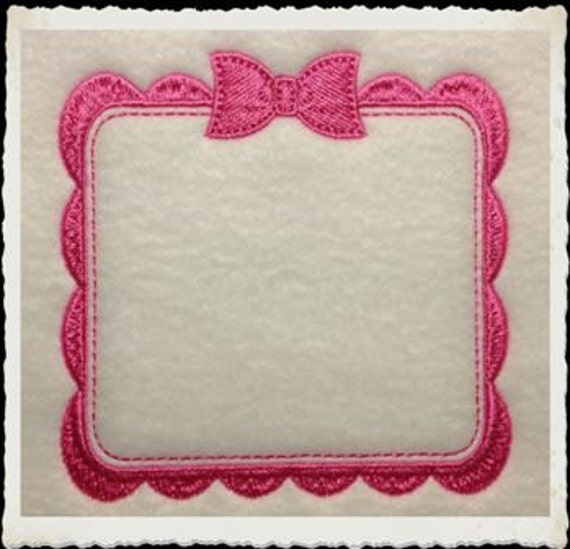 Embroidery Quilt Border Designs : Bow Border Quilt Label 4x4 Machine Embroidery by ALotOfStitches