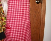 On Sale!  Classic Red and White Checkered Apron