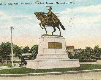 Major General Steuben Memorial MILWAUKEE Wisconsin Vintage Postcard 1928