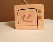 One of a kind Handmade unique  wooden jewelry or trinket  box  shaped as old style TV