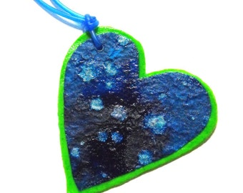 Large Heart Necklace - Bright Green and Blue - Mixed Media Jewelry, Big, Hearts, Paper Anniversary, Ready to Ship, Sale - Now Marked 40% OFF