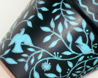 """Hand Painted Pot 8 Inch Planter """"Sanctuary"""" Made to Order"""