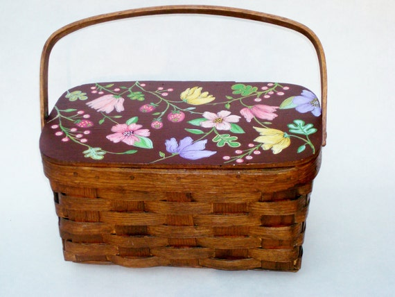 Hand Painted Antique Basket Gift For Mom