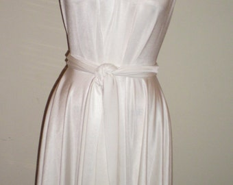 White Convertable Infinity Hi Lo Dress