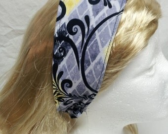 black and yellow print reversible headband headwrap fabric hair accessory fabric headband cloth headband