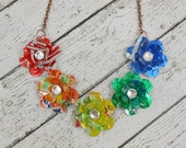 5 Mini Rose Statement Necklace.  Recycled Soda Can Art. Rainbow