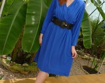 Vintage Royal Blue Surplice Wrap Dress