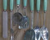 Fantastic 1940s Kitchen Utensils Wood Handles Jadite Green, Cream EKCO Handles Shabby Chic