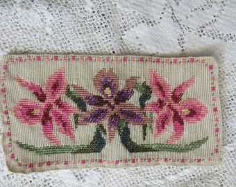 Pretty Vintage Unframed Needlepoint of Pink and Purple Flowers