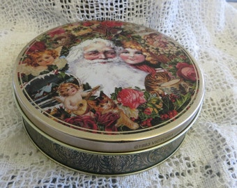 Round Tin Candy or Nut Tin Christmas Victoria Graphics