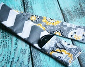 Embroidered Reversible Camera Strap Cover with Lens Cap Pocket and Monogram - Photographer Gift - Yellow and Gray Chevron and Graphic Flower