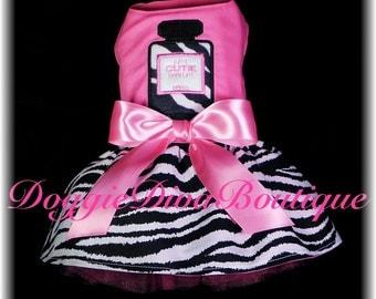 Dog Dress - Hot Pink Zebra - Perfume Parfum Applique - Medium