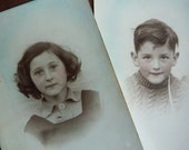 pair of RP postcard portraits of children - brother & sister