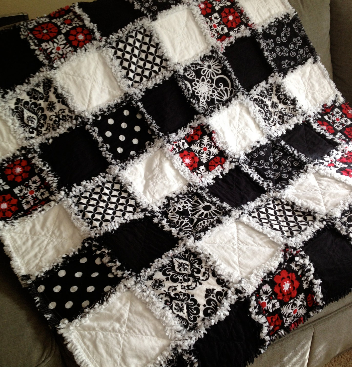 Black And White Bold Graphic Rag Quilt Throw With Red Hawaiian