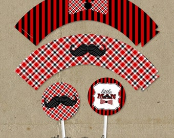 Red & Black Little Man Birthday Party Cup Cake Wrappers and Toppers - DIY digital U Print - Instant Download