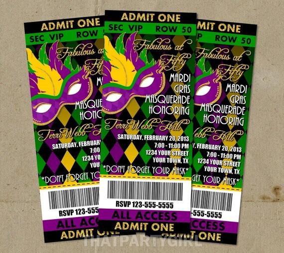 Mardi Gras Masquerade Party Ticket Style Invitations Diy U