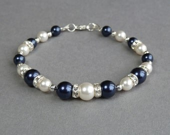 Navy Pearl and Crystal Bracelet - Dark Blue Bridesmaids Jewelry - Midnight Blue Bridal Jewellery - Wedding Accessories - Bridal Party Gifts