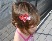 Heart Ribbon Sculpture Bow. Red Pink Heart Clip. Free Ship Promo.