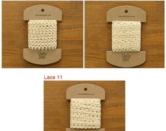 11mm Natural Fabric Lace Ribbon 3 yard ( Lace 9 -11 )
