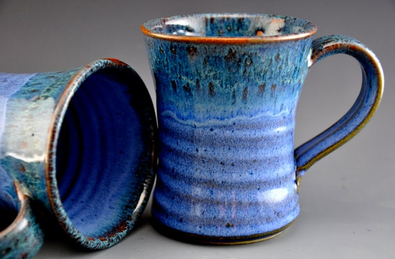 Blue Mug Ceramic Coffee Cup Tall Blue Green Rim