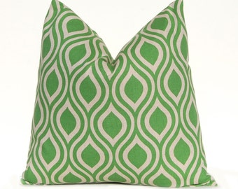 Green Pillow Covers - 18 x 18 - Green Cushions - Throw Pillow Covers - Sofa Pillows - Green and Linen Pillows - Nicole by Premier Prints