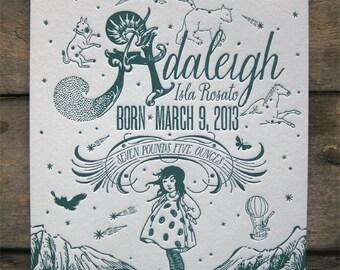 Magic in the Mountains Custom Design Letterpress Birth Announcements