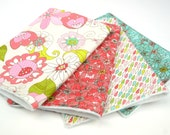 Set of 4 Burp Cloths- in the Basic Grey Floral Tear Drop Red Green Pink Blue