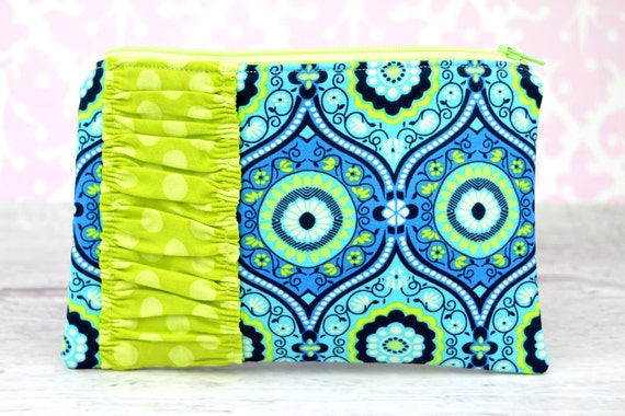 Zipper Pouch, Coin Purse, Card Case, Clutch in Amy Butler Lark Treasure Box Ocean with Lime Ta Dots Ruffle