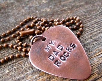Guitar Pick Necklace - Copper - Hand Stamped by Rawkette