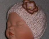 PREEMIE HAT Hand Knit Beanie Kufi Infant pink w pink & brown fleece flower