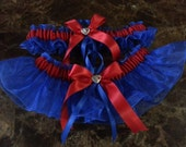 Royal blue and red Wedding Garter Set any size, color or style.