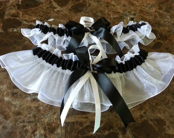 Hockey Black and White Wedding Garter Set any size, color or style.