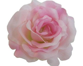Pink Silk Rose flower Hair Clip 3 Inch.