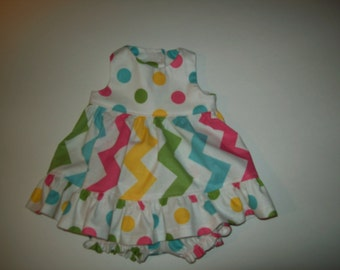 "Baby Alive  And Waldorf Doll Clothes Flirty Ruffled Sundress 10"" 12"" Or 15"" Pastel Rainbow Cevron"